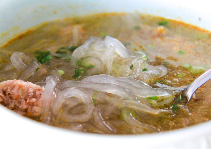 Banh Canh Tom Bot Loc or Vietnamese Thick Noodle Shrimp Soup with Fine Flour