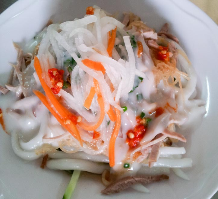 Banh Tam Bi or Pork and Coconut cream noodles, a Vietnamese dish