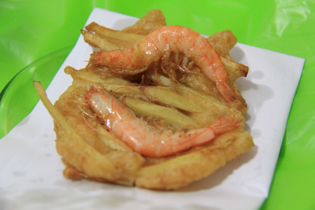 Banh Tom Ho Tay or Vietnamese shrimp sweet potato fritter from Ho Tay or West lake