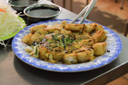 Bot Chien or Vietnamese Fried Rice Cakes with Egg
