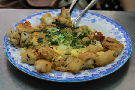 Bot Khoai Mon or Vietnamese Fried Taro Cakes with Egg