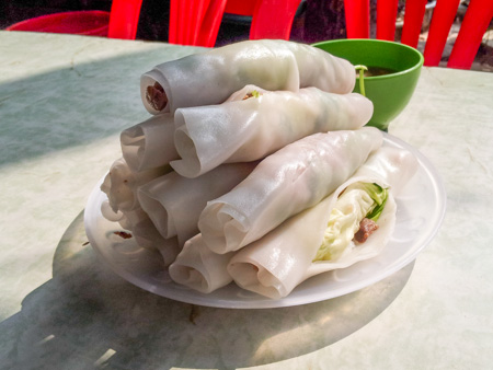 Pho Cuon or beef pho rolls in Vietnam